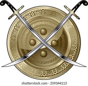arabian shield and crossed scimitar swords