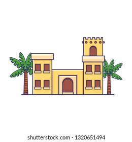 Arabian Traditional House Icon Vector Illustration