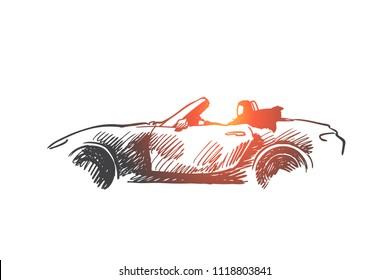 Arabian, woman, drive, car, muslim concept. Hand drawn arabian woman in hijab driving car concept sketch. Isolated vector illustration.