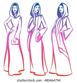 Arabian woman in traditional clothes, with phone, bag, posing. Fashion illustration of female in abaya. Lineart ink hand drawn vector stock image. Isolated on white background.