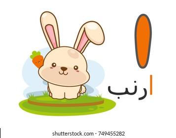 Arabic alphabet alif with picture of rabbit