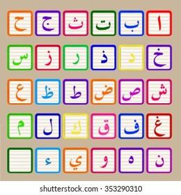 Arabic alphabet colored cubes for kids