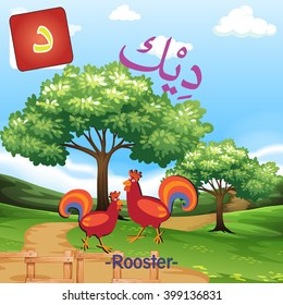Arabic Alphabet cute Animal Vector colorful of Rooster