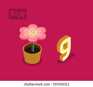 "arabic alphabet language isometric style for letter ""waw"" ...arabic word ""warda"" flower"