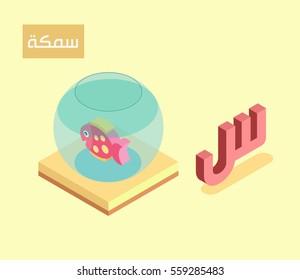 "arabic alphabet language isometric style for letter ""seen""...arabic word ""samka"" fish"