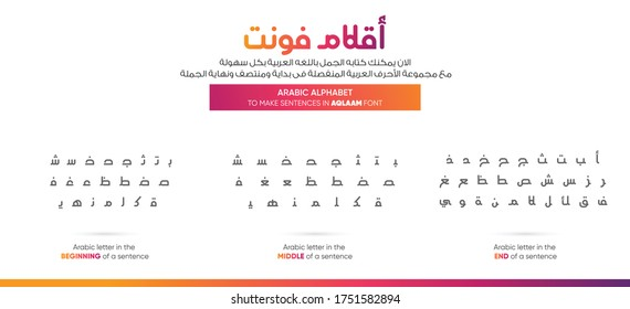 Arabic alphabet letters - translation (write the sentences in an easy way with Arabic letters at the beginning, middle and end of a sentence - Arabic Font) EPS 9