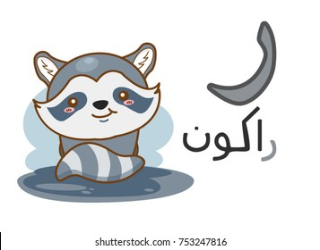 Arabic alphabet raa with picture of raccoon