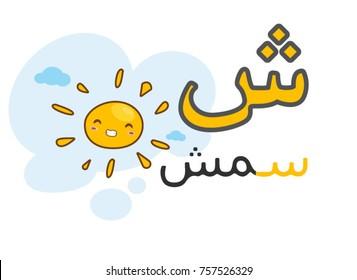 Arabic alphabet shiin with picture of sun