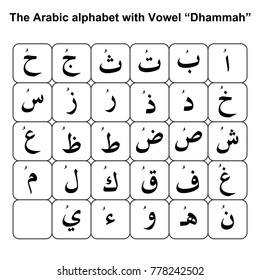 "The Arabic alphabet with Vowel ""Dhammah"""