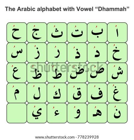 the arabic alphabet with vowel dhammah