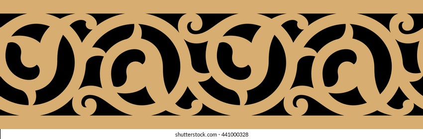 Arabic Ancient Floral Seamless Border. Traditional Islamic Design. Ocher on Black. Mosque decoration element.