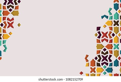 Arabic arabesque design greeting card for Ramadan Kareem. Islamic ornamental colorful detail of mosaic.Vector illustration.