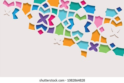 Arabic arabesque design greeting card for Ramadan Kareem.Islamic ornamental colorful detail of mosaic.Vector illustration.
