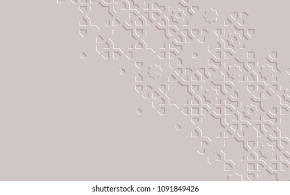 Arabic arabesque design greeting card for Ramadan Kareem.Islamic ornamental monochrome detail of mosaic.Vector illustration.