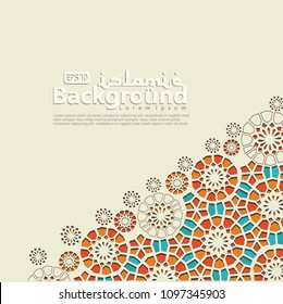 Arabic arabesque design greeting card for Ramadan Kareem, Ied Mubarak and other users Islamic event. Background vector illustration.