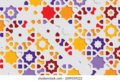 Arabic arabesque design greeting card for Ramadan Kareem. Islamic ornamental colorful detail of mosaic. Vector illustration.