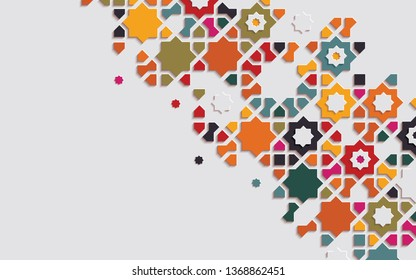 Arabic arabesque design greeting card for Ramadan Kareem.Islamic ornamental colorful detail of mosaic. Vector illustration.