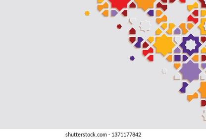 Arabic arabesque design greeting card for Ramadan Kareem.Islamic ornamental colorful detail of mosaic. Vector illustration.