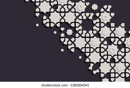 Arabic arabesque design greeting card for Ramadan Kareem, Islamic ornamental black and white detail of mosaic