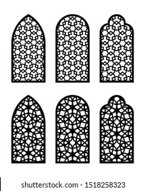 Arabic arch window or door set. Cnc pattern, laser cutting, vector template set for wall decor, hanging, stencil, engraving