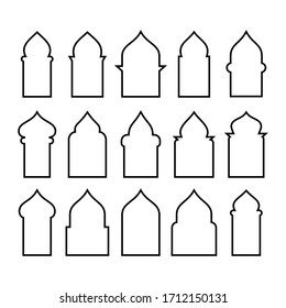Arabic arch window and doors black set isolated on white background. Vector illustration. EPS 10.