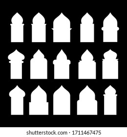 Arabic arch window and doors white set isolated on black background. Vector illustration. EPS 10.