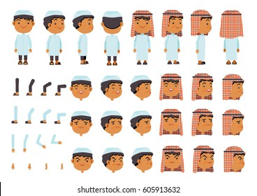 Arabic Boys character creation set. Icons with different types of faces Islamic head scarf men clothing style, emotions,  front, rear, side view of male person. Moving arms, legs. Vector illustration