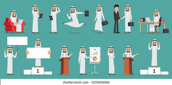 Arabic Business man Character Set. Vector illustration. Isolated on blue background.