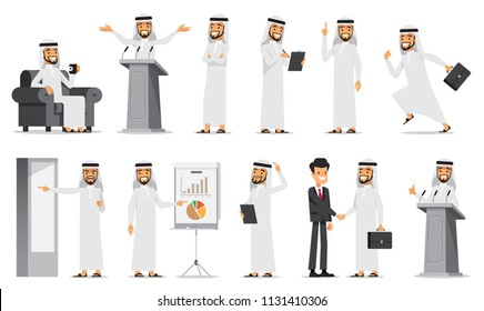 Arabic Business man Character Set 3. Vector illustration. Isolated on white background.