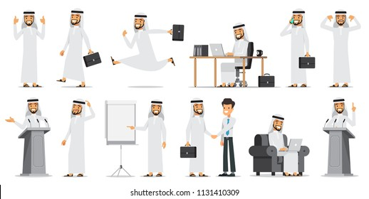Arabic Business man Character Set 2. Vector illustration. Isolated on white background.
