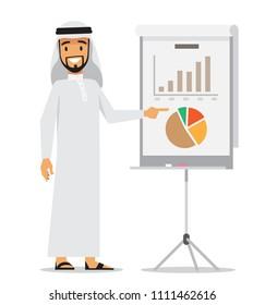 Arabic business man presenting. Vector character design.