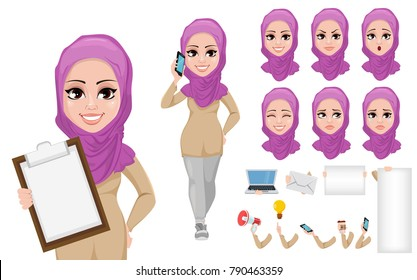 Arabic business woman cartoon character creation set. Young beautiful Muslim businesswoman in smart casual clothes. Build your personal design - stock vector