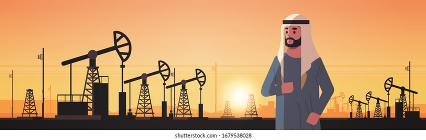 arabic businessman over pumpjack petroleum production trade oil industry concept pumps industrial equipment drilling rig sunset background horizontal portrait vector illustration