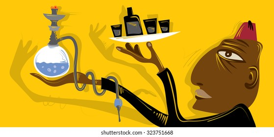 Arabic Cafe, Hookah, Coffee Illustration (Vector Art)