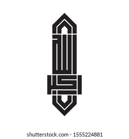 """Arabic Calligraphy of """"Allahu Akbar"""", in Square Kufic Style."""