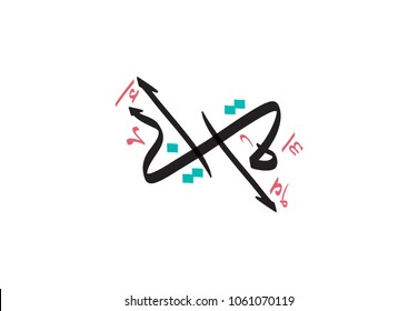 Arabic Calligraphy Art for the words: Father & Mother, connected to shape a beautiful logo. can be used as a gift or printed greeting card. vector multipurpose father-mother logo.