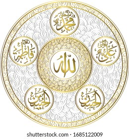 Arabic calligraphy with ornament seamless pattern background. Arabic texts the names of al kisa according to Shia beliefs