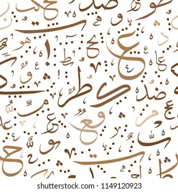 Arabic Calligraphy Seamless Pattern. arabic alphabet letters or font in Thuluth style, for ramadan kareem and eid mubarak designs