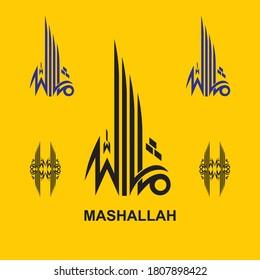 "arabic calligraphy set of ""Mashallah"". Translated as: Praise to be God"". islamic vector art"