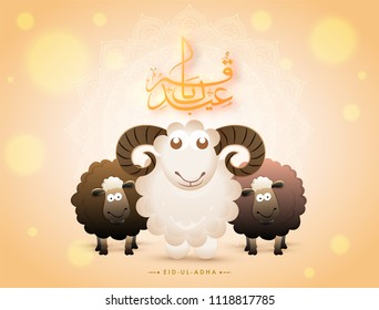 Arabic calligraphy text Eid-Ul-Adha with black and white sheeps on bokeh background for Muslim community festival of sacrifice.