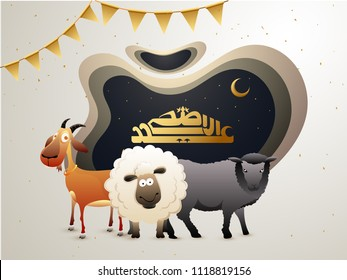 Arabic calligraphy text Eid-Ul-Adha, Islamic festival of sacrifice with illustration of sheep, goat and buffalo in crescent moon, and stars night background. Paper-cut or paper-art concept.