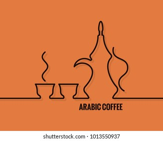 arabic coffee logo. Line concept design background