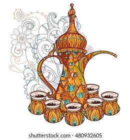 Arabic coffee maker dalla with cups. Greeting card or invitation, hand drawn sketch. Zen art illustration.