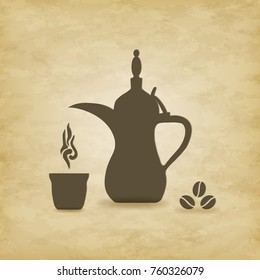 Arabic coffee pot old on grunge  background. Vector illustration. EPS 10