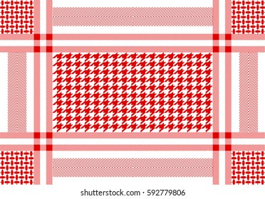 Arabic cotton scarf with hounds tooth print and geometric motifs. Traditional Middle Eastern headdress. Red and white.