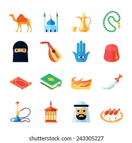 Arabic culture and religion middle east traditional icon flat set isolated vector illustration