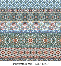 Arabic decorative geometric azulejos tile patchwork. islamic style vector seamless patterns