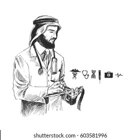 Arabic Doctor with medical Icon, Hand Drawn Sketch Vector Background.