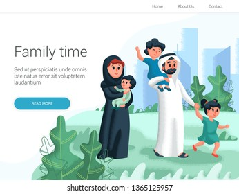 Arabic family walking with children in the park. Cartoon Vector illustration. Family day, celebration. Family time weekend