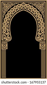 Arabic Floral Arch. Traditional Islamic Background. Mosque decoration element. Elegance Background with Text input area in a center. Ocher on black background